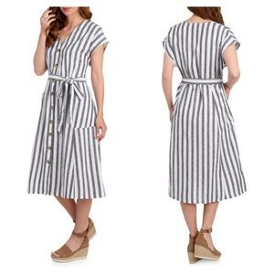 Nina Leonard Striped Button Front Midi Dress Large